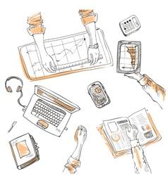 Teamwork top view people hands sketch hand drawn vector
