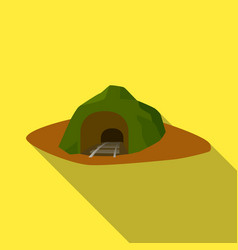 the entrance to the mine covered with grass the vector image