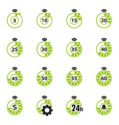 Timer icon set vector