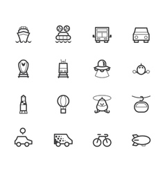 vehicle black icon set on white background vector image vector image