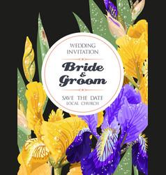 wedding invitation with iris flowers vector image