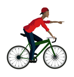 Young guy rider bicycle pointing hand vector