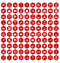100 working professions icons hexagon red vector