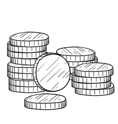 Doodle money coins stack vector
