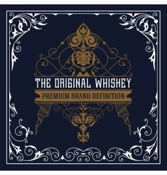 Whiskey label with old ornaments vector image
