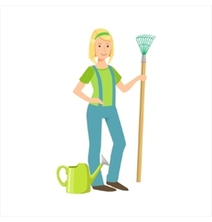 Woman farmer with a rake part of happy people and vector