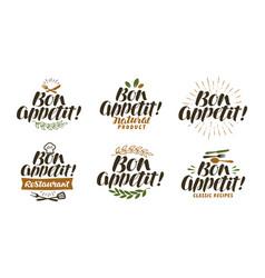 bon appetit lettering food label set vector image