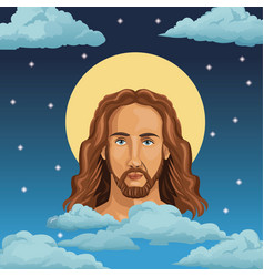 Portrait jesus christ night background vector