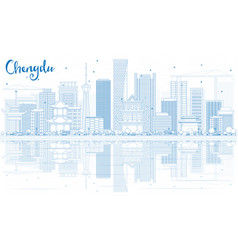 Outline chengdu skyline with blue buildings and vector