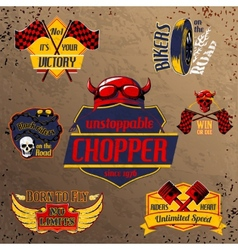 Motorcycle bike emblems set vector