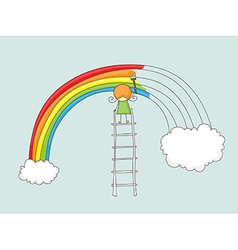 Painting rainbow vector