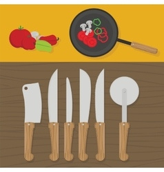 Kitchen utensils on the table in the kitchen vector