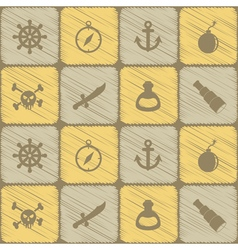 Seamless background with pirate stuff vector