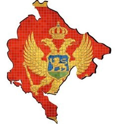 Montenegro map with flag inside vector