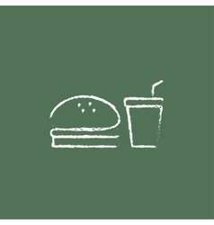 Fast food meal icon drawn in chalk vector