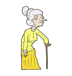 Comic cartoon old woman vector