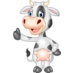 Cartoon funny cow giving thumb up isolated vector image