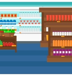 Background of supermarket shelves vector
