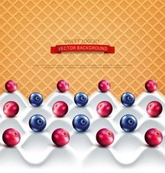 Wave yogurt with berries vector