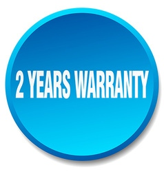 2 years warranty blue round flat isolated push vector