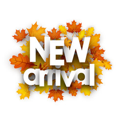 Autumn new arrival card with leaves vector