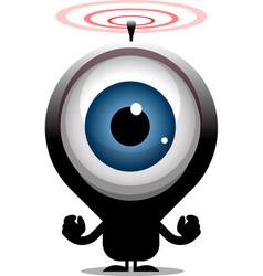 Big eye cartoon character transmitting radio waves vector
