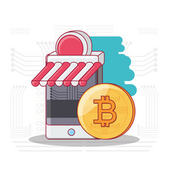 bitcoin accepted design vector image