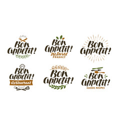 Bon appetit lettering food label set vector