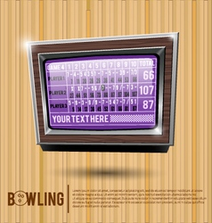 Bowling alley scoreboard vector image