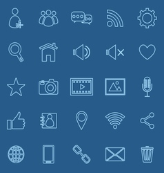 Chat line icons on blue background vector image vector image