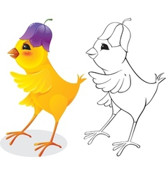 Chicken with flower cap vector