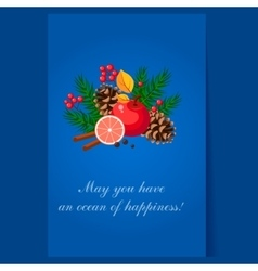Christmas Design with Fir Grapefruit Berries and vector image vector image