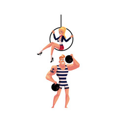 Circus performers - strongman and acrobat gymnast vector