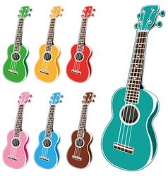 colorful ukulele set vector image vector image