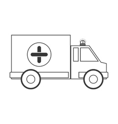 Contour silhouette ambulance with cross vector