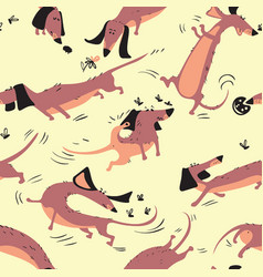 funny dachshunds playing with insects seamless vector image vector image