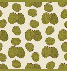 Green hop seamless pattern design - vintage vector