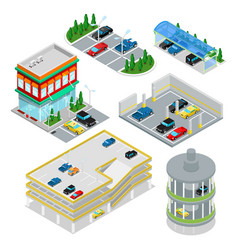 Isometric car parking set city transportation vector