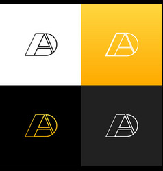 logo ad linear logo of the letter a and d vector image vector image