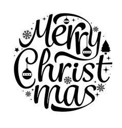 Merry christmas text free hand design isolated on vector