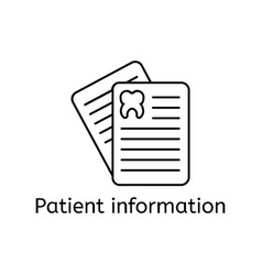 outline icon of patient card thin line signs of vector image vector image