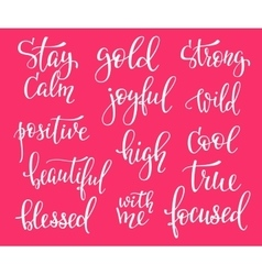 Photography family positive quotes overlay set vector