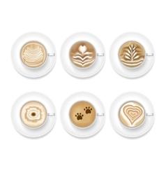 Realistic coffee foam set vector