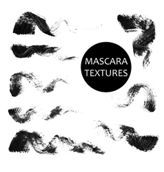 Set of 8 artistic mascara black strokes vector