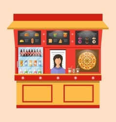 Showcase Shop of Fast Food with Seller vector image