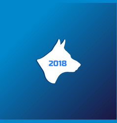 silhouette of a dog on blue background vector image