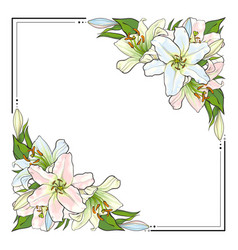 square frame decorated with hand-drawn lilies vector image vector image