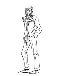 Stylish Man in suit with scarf vector image vector image