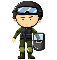 SWAT man in green safety suit vector image