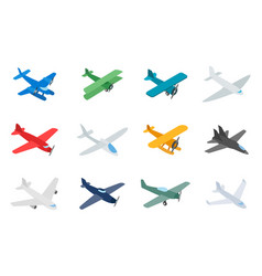 type of plane icon set isometric style vector image vector image
